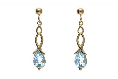 9 Carat Yellow Gold Blue Topaz Drop Earrings AP0116